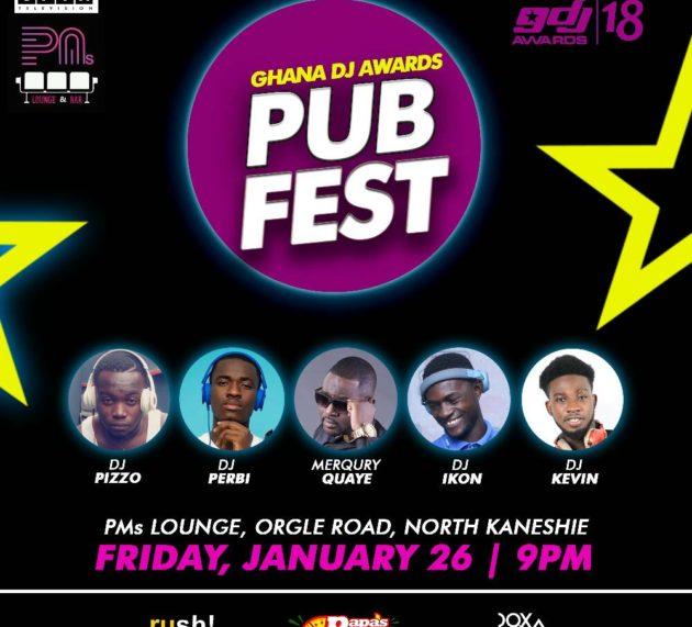 PMs Lounge to host Ghana DJ Awards Pub Fest on January 26